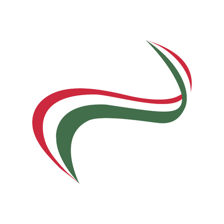 Ribbon in the color of the flag of Hungarian on a white background
