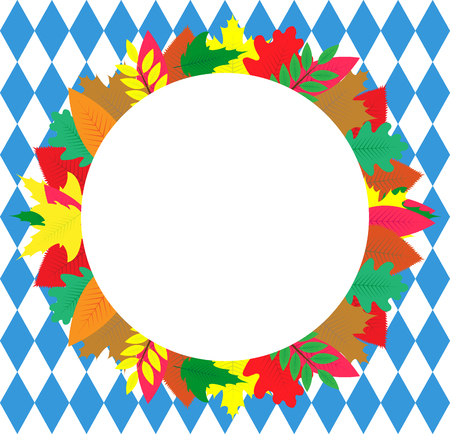 Banner with autumn leaves on the background of the Bavarian flag on oktoberfest