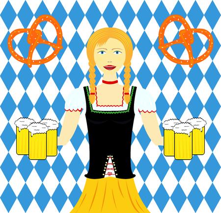 Waitress wit beer mugs decorated, Bavaria Oktoberfest Ilustração