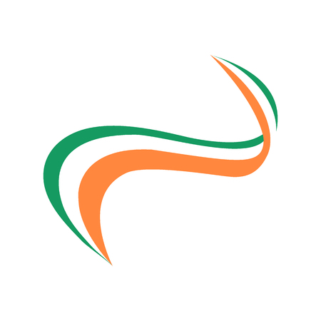 Ribbon in the color of the flag of Ireland on a white background  イラスト・ベクター素材