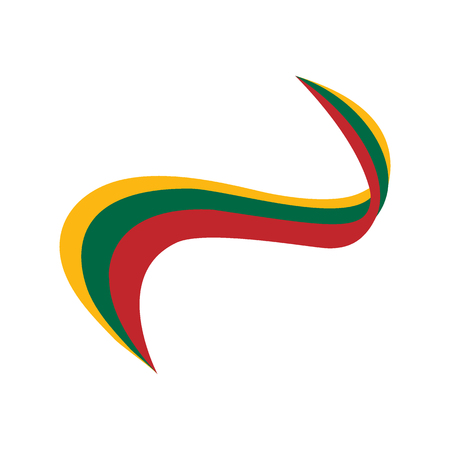 Ribbon in the color of the flag of Lithuania on a white background