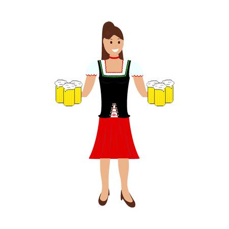 Girl waitress bears beer at the octobedef festival