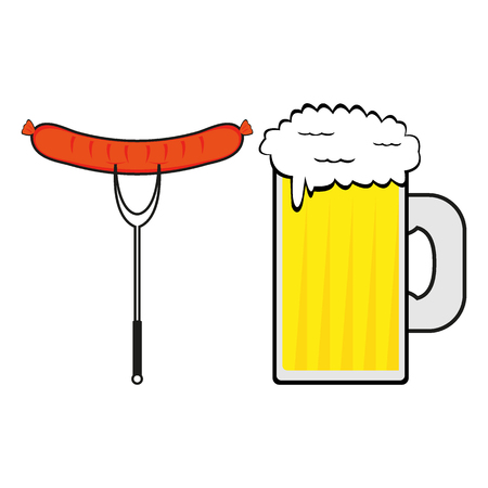 Sausage and a mug of beer on a white background