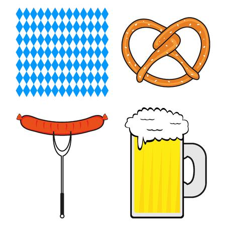Set of symbols for the Oktoberfest festival on a background background