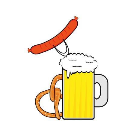 Beer, sausage and pretzel at the Oktoberfest festival Ilustração