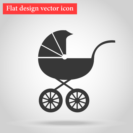 Buggy, trucks for transportation of a young child sleeping icon flat design. Pram Icon. vector illustration