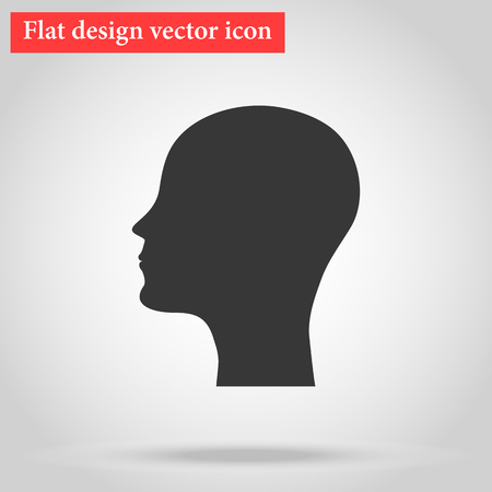 Silhouette of the head and face bald man icon flat design. vector illustration Ilustração