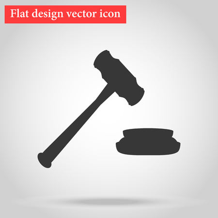 Hammer for the auction and the judge in the courtroom icon flat design. vector illustration Ilustração