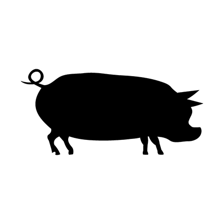 Silhouette of a pig. Symbol of the new year 2019