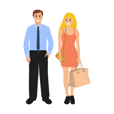 Man and woman with a package on a white background