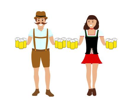 Man and women with beer at the Oktoberfest festival Ilustração