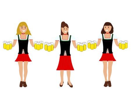 Girls with beer at the Oktoberfest festival Ilustração
