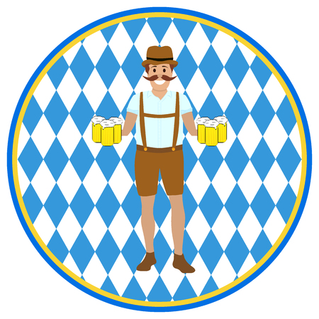 Hilarious Drunk man with mugs of beer at hands on a Oktoberfest festival