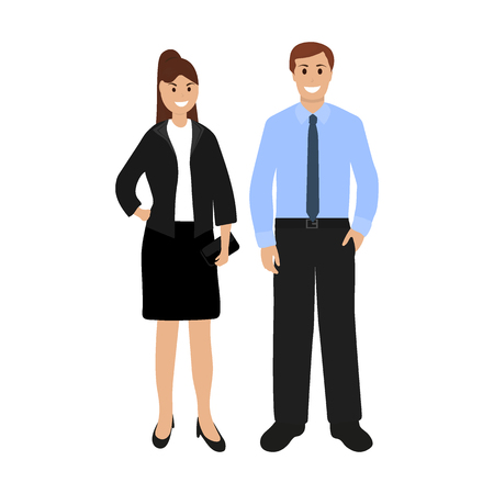 Businessmen woman and man on a white background