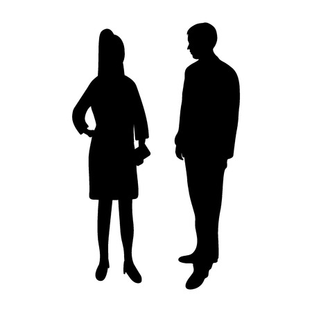 Silhouettes of a man and a woman on a white background
