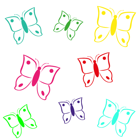 multicolored butterfly on white background vector