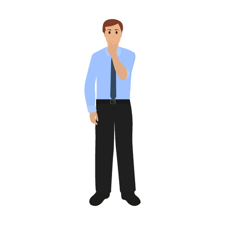 Man thought about new ideas. businessman on a white background