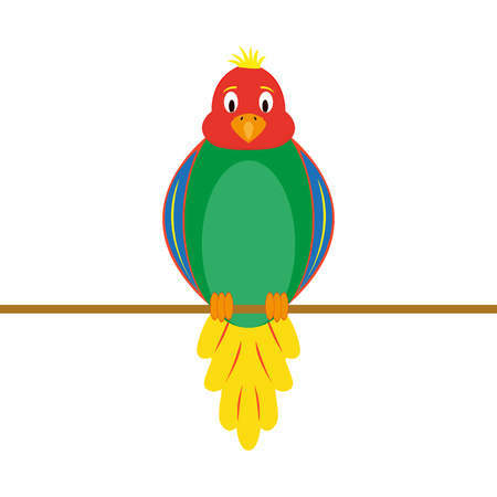 multi-colored funny parrot on a white background vector illustration