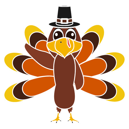 Turkey Pilgrimin on Thanksgiving Day, on white background funny character