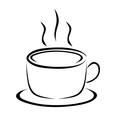 cup of coffee on white background vector Ilustração
