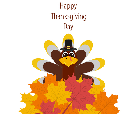 Thanksgiving day, banner with autumn leaves vector illustration