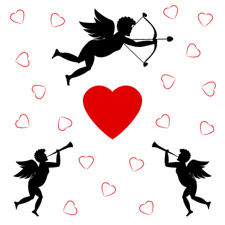 Cupids and red heart on a white background vector