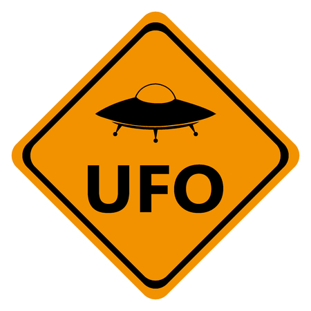 danger road signs UFO, vector illustration icon