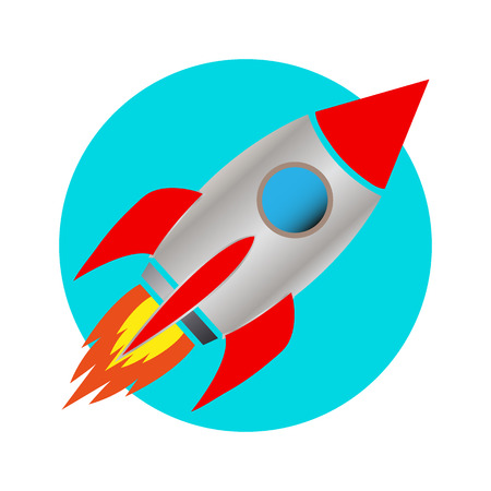 space rocket icon white background vector illustration Stock Vector - 109948252