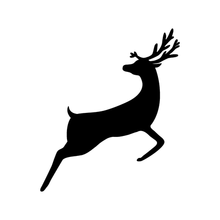 Christmas reindeer silhouette on white background 일러스트