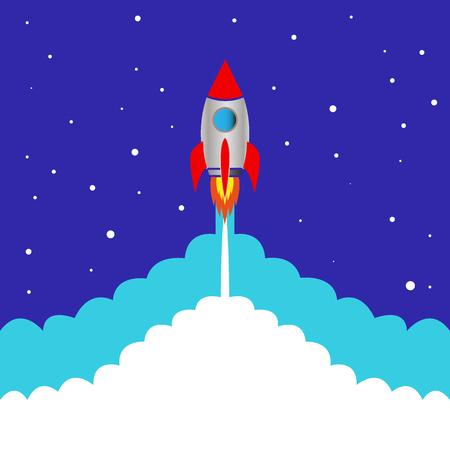 start space rocket blue background vector illustration