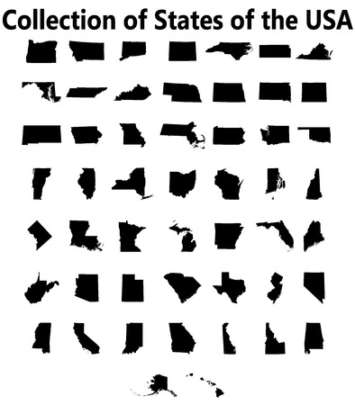 set of US states maps Illustration