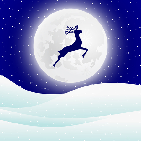 Reindeer jumps against the background of the moon in the Christmas forest