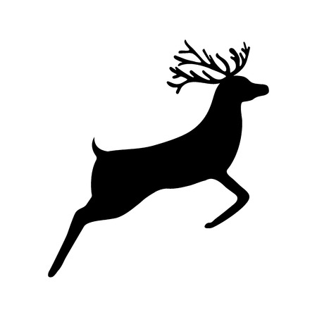 Christmas reindeer silhouette on white background, vector