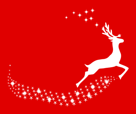 Reindeer Christmas with stars on a red background 일러스트