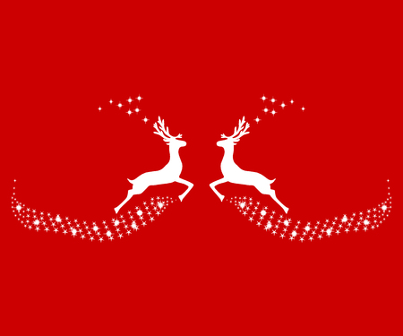 Two reindeer leap towards each other, silhouettes 일러스트