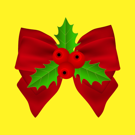 Red Christmas bow with holly on yellow background on ribbon Ilustração