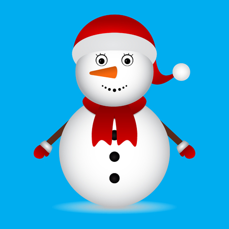 Christmas Snowman on blue background. Christmas Characters Ilustração