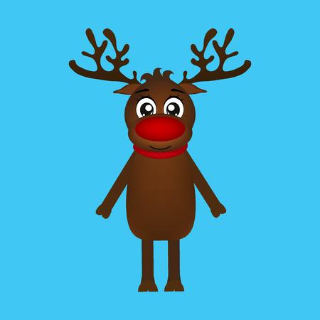 Cheerful cartoon reindeer on a blue background, vector illustra Ilustração