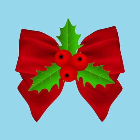 Red Christmas bow with holly on ribbon