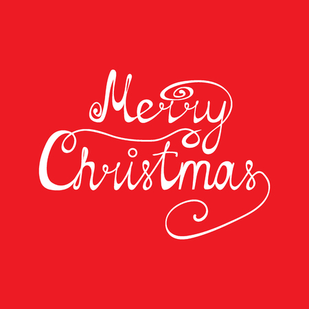 Congratulation of Merry Christmas on a red background