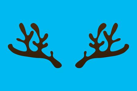 Horns of a reindeer on a blue background, a template of a funny animal Ilustração