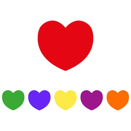 Heart multi-colored Icons. Vector illustration on white background  Illustration