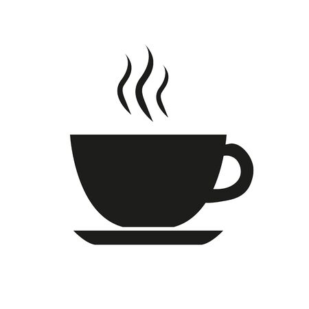 cup of coffee tea hot drink black vector icon on white background icon Ilustração