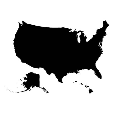USA geographic map with Alaska and Hawaii isolated on white background. Flat, vector illustration