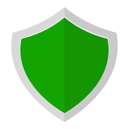 Green shield icon for web design isolated on white background. Flat, vector illustration