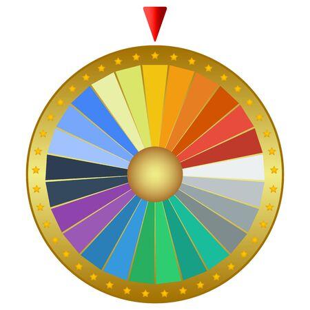 Preisrad des Glücks lokalisiert auf einem weißen Hintergrund. Casino-Maschinendesign, Vektorillustration