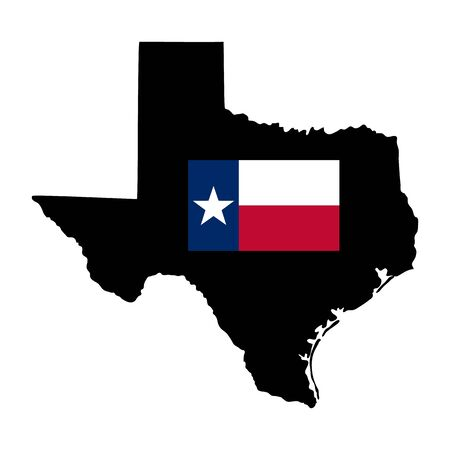 Map of american state of texas with flag isolated on white background. Flat, vector illustration Vetores