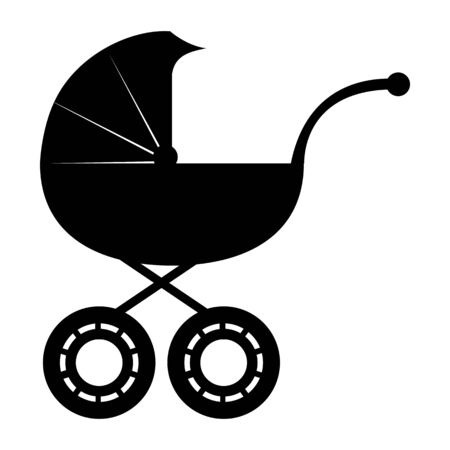 Baby carriage isolated on a white background. Web icon for design, flat vector illustration Ilustrace