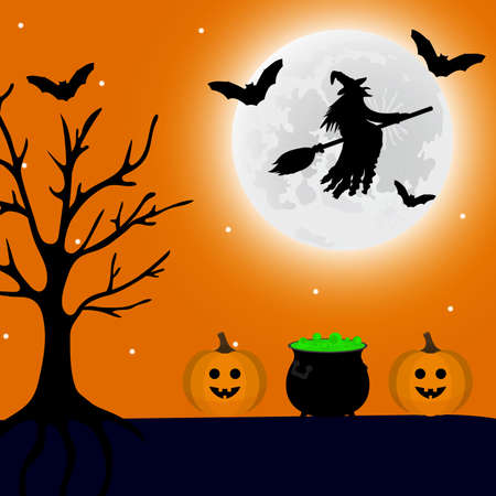 Witch flies at night on Halloween, and a potion and a pumpkin lantern are nearby. Vector illustration