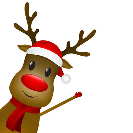 Christmas reindeer with a scarf and a santa claus hat on a white background. Vector illustration for a festive design